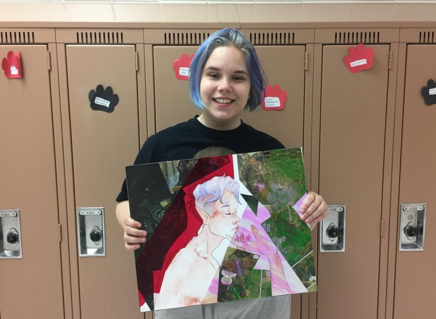 Victoria Haukaas with one of her AP Art projects!