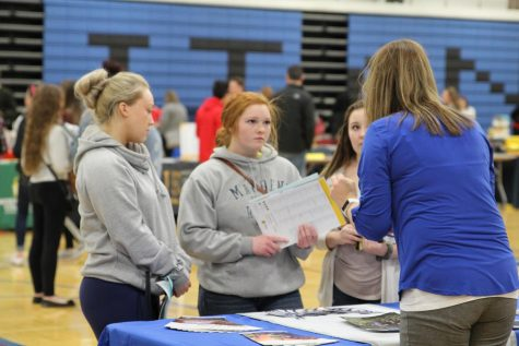 """North students Allison Cha, Jayda Flor, and Katlynn """"KT"""" Thomason attended the 2018 College Fair at Tartan High School. (photos provided by Ms. Amy Cosgrove)"""