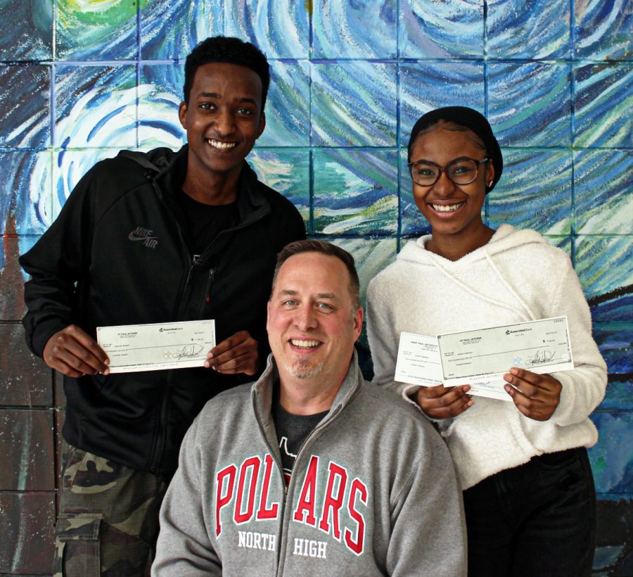 Pictured: Mr. Schahn, Aishat Adedayo, and Jeremiah Bekabil (picture provided by Amber Remackel)